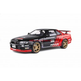 olido - 1/18 - NISSAN - SKYLINE GT-R (R34) ADVAN DRIFT EVOCATION 1999 - BLACK RED